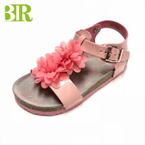 New Design Pu Upper Flower Decorated Cork Sole Girls Sandals For Children