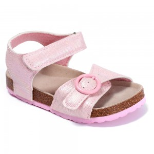 New Season Classical Design with Comfortable Cow Suede Insole and Cork Sole Foot-bed Toddler Kids Girls Sandals