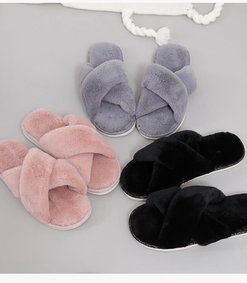 Personlized Products Girl Sandals - New design women cozy plush open toe cross straps home indoor slippers – BYRING