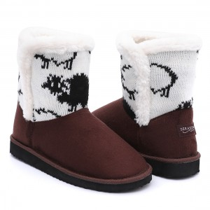 Factory Supply Lady Sandal - New design warm women soft plush snow boots with beautiful knitting – BYRING