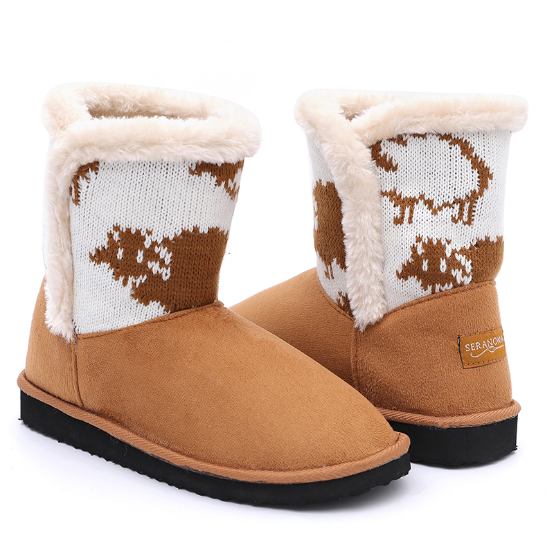 2020 Latest Design Men Corkbed Sandal - New design warm women soft plush snow boots with beautiful knitting – BYRING