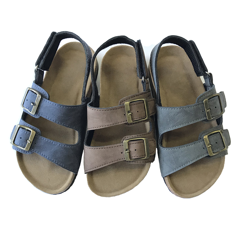 New Arrival Best Selling Good Quality Buckle Strap cork footbed Children Kids Boys Sandals Featured Image
