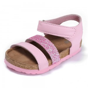 Byring Shoes New Style Kids Girls Glitter PU Slim Straps Cork Foot-bed Sandals with Adjustable Back Closure