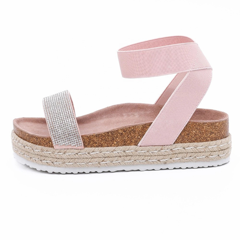 Big Discount Low Wedge Sandals - New Style Women's Summer Cork Sole wedges Sandals with rhinestones for women – BYRING
