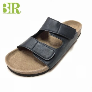 New Design Two Straps Cork Sole Footbed Mens Comfort Sandals Slippers