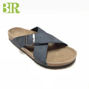 New High Quality Cross Straps Cork Sole Men Comfort Sandals