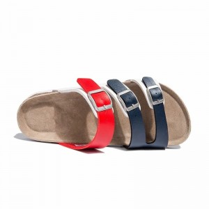 Wholesale Buckle Straps Men Cork Footbed Leather Sandals, Summer Slippers