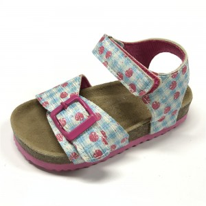 2020 New Design Pu Upper With Srawberry Printed Cork Sole Girls Foot-Bed Sandals For Kids