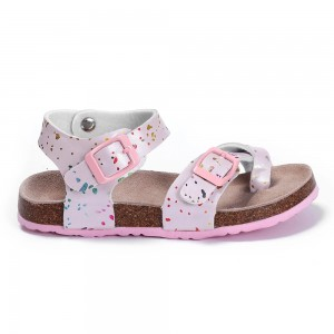 Factory Direct Sale High Quality Flat Beautiful Sandals for Kids Girls with Adjustable Buckles Bio Cork Foot-bed