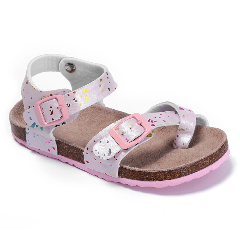 Factory Direct Sale High Quality Flat Beautiful Sandals for Kids Girls with Adjustable Buckles Bio Cork Foot-bed Featured Image