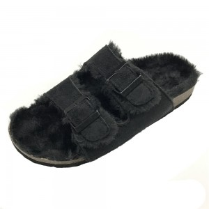 Women's Shearling Comfortable Foot-bed Cork Sole Indoor Slippers