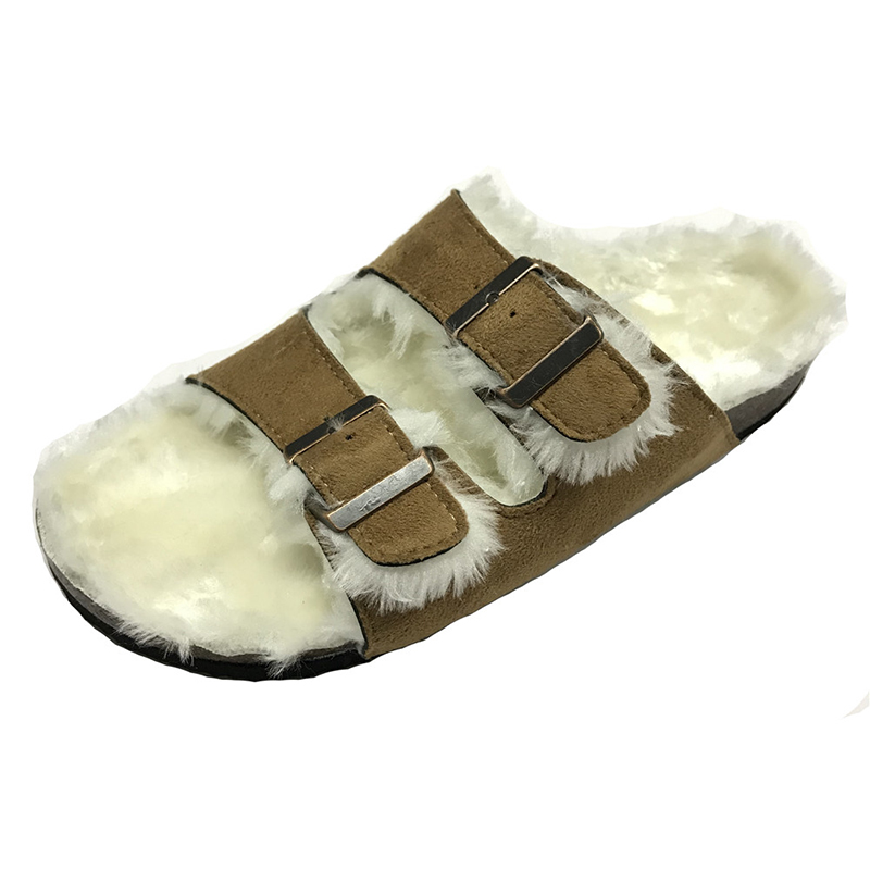 Women's Shearling Comfortable Foot-bed Cork Sole Indoor Slippers Featured Image