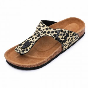 Hotsale Fashion Leopard PU Upper Flipflops Women Thong Sandals for Summer with Bio Cork Sole