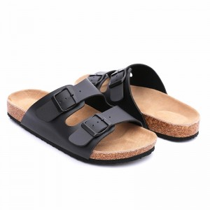Wholesale two straps women sandals with cow leather insole and arch support cork sole foot-bed