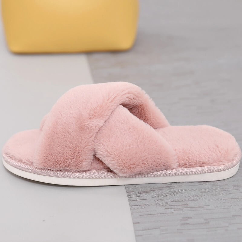Competitive Price for Lady Corkbed Sandals - New design women cozy plush open toe cross straps home indoor slippers – BYRING