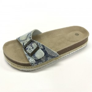 Factory Promotional China Very Beautiful Ladies PU Cork Flip Flops