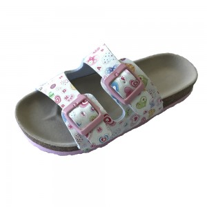 New Design Big Girls Cork Footbed Sandals With Heart Prints