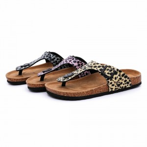 OEM/ODM Manufacturer Cork Soles For Sandals - Hotsale Fashion Leopard PU Upper Flipflops Women Thong Sandals for Summer with Bio Cork Sole – BYRING