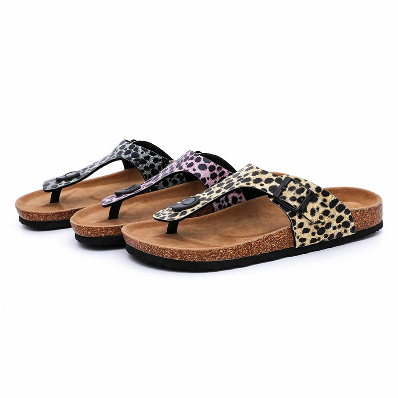 High Quality for Comfortable Sandals - Hotsale Fashion Leopard PU Upper Flipflops Women Thong Sandals for Summer with Bio Cork Sole – BYRING detail pictures