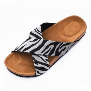 High Quality Animal Print Upper Women Cross Comfort Sandals