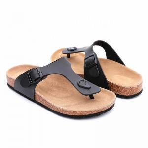 Renewable Design for cork wedge sandal - Wholesale two straps women sandals with cow leather insole and arch support cork sole foot-bed – BYRING