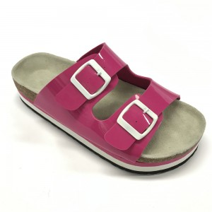 The classic buckled platform slide sandals with moulded cork foot bed from Byring Shoes