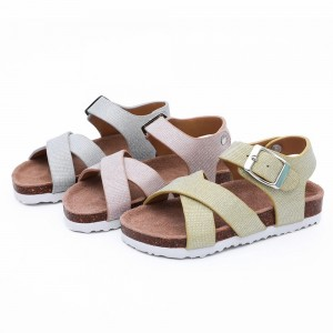 Ningbo Byring Prime Quality Girls comfort Sandals for Toddler Kids Children with Comfortable Design and Cork Sole Foot-bed