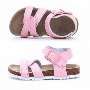 High Class Quality Girls Pink Flat Cute Sandals for Toddler Kids Children with Soft Cow Leather Insock Cork Sole Foot-bed