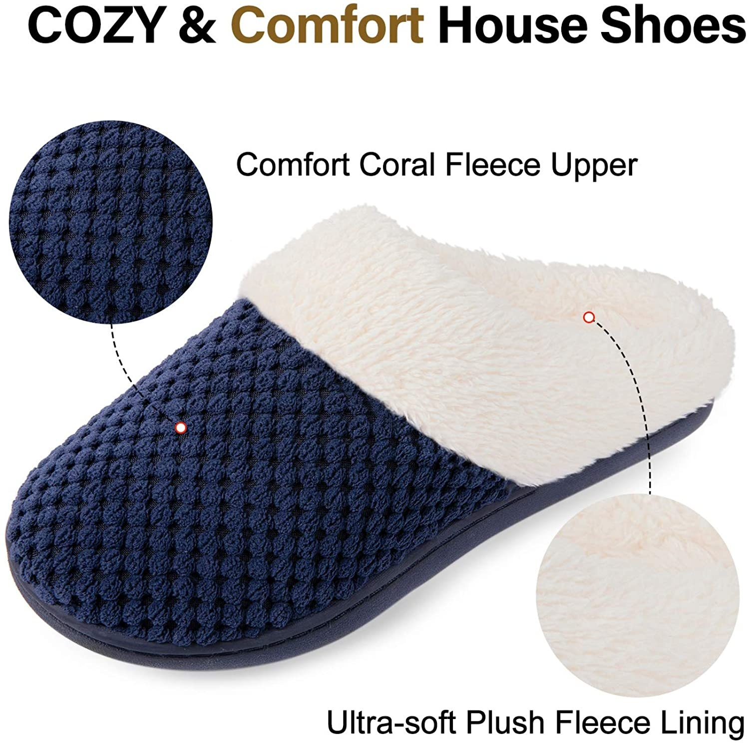 China Cheap price Kids Cork Sole Sandal - Prime Quality Women's Cozy&Comfort Coral Fleece Memory Foam Slippers Fuzzy Plush Lining Slip-on House Shoes for Indoor & Outdoor Use – BYRING detail pictures