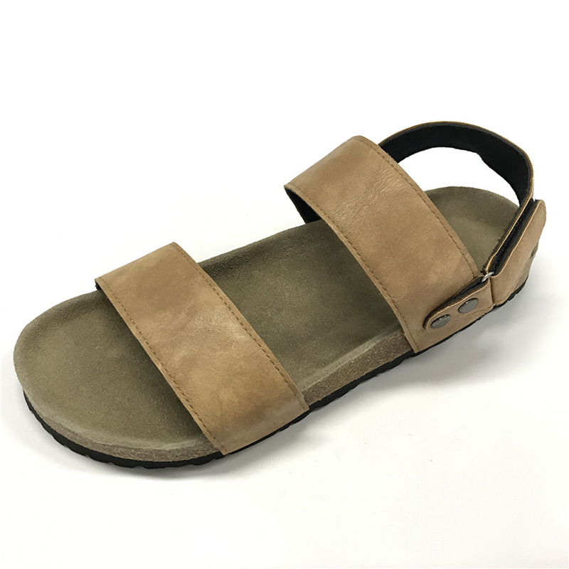Byring Shoes New Design Two Straps Cork Sole Footbed Mens Comfort Sandals Slippers Featured Image