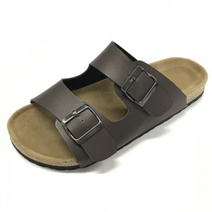 Byring Men's-Slide-Sandals- Slippers Shoes Indoor and Outdoor Anti-skidding Flat Cork Sandals and Beach Slippers with Two Adjustable Straps