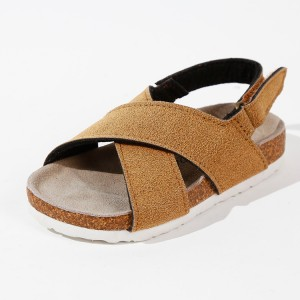 Factory Wholesale High Quality Suede Cross Straps Summer Kids Boys Sandals
