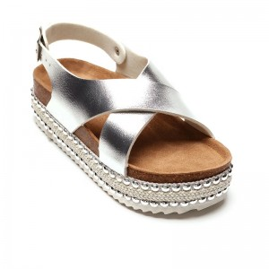Womens Casual Espadrille Trim Platform Studded Wedge Ankle Strap Sandals, Ladies Open-toe Cross Strappy Summer Shoes