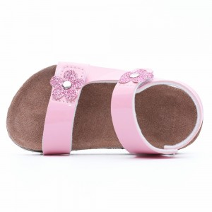 Beautiful flower Girls Cork footbed comfort Sandals