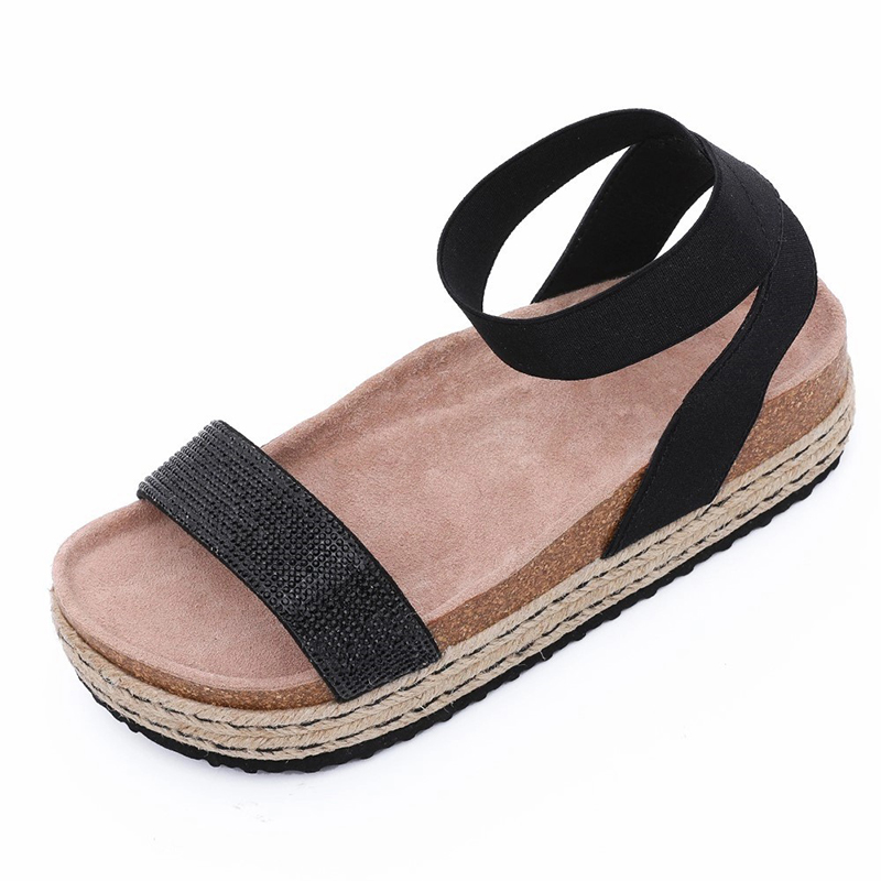 Wholesale Price Lady comfort sandals - New Style Women's Summer Cork Sole wedges Sandals with rhinestones for women – BYRING