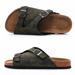 New Style Men and Women's Summer Cork Sole Flat Sandals with Comfortable Foot-bed