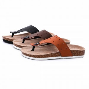 Prime Quality Imatation Leather Men's Thong Cork Footbed Sandals Flipflops For Summer