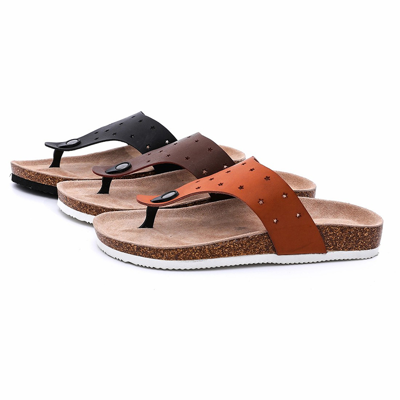 New Fashion Design for Mens Cork Sandals - Prime Quality Imatation Leather Men's Thong Cork Footbed Sandals Flipflops For Summer – BYRING
