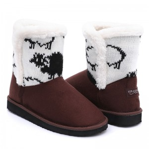 New design warm women soft plush snow boots with beautiful knitting