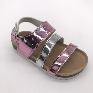 2021 New Style Kids Girls Fashion Summer Sandals Glossy PU Princess Shoes with soft cusion insole & Cork Foot-bed