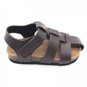 Byring Shoes Wholesale High Quality Kids Boys Velcro Straps Cork Foot-Bed Summer Sandals