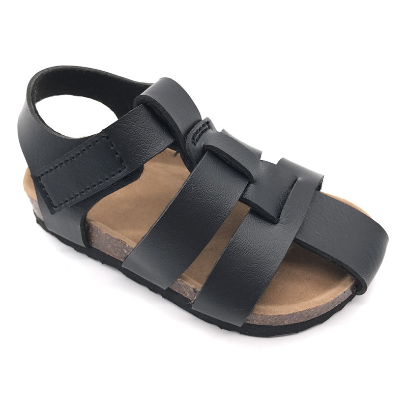 Byring Shoes Wholesale High Quality Kids Boys Velcro Straps Cork Foot-Bed Summer Sandals Featured Image