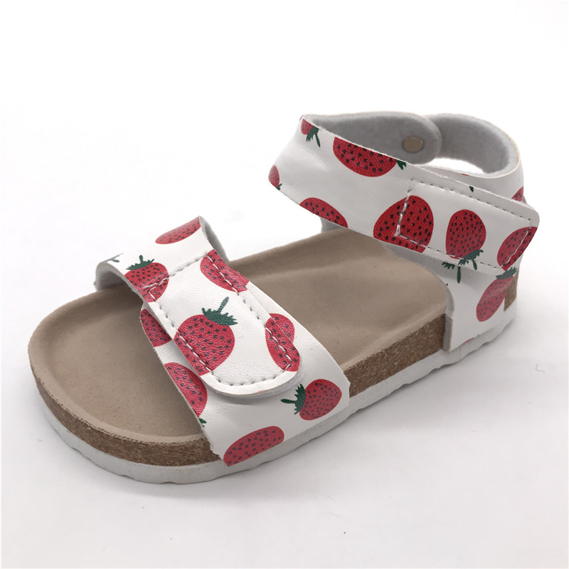 2021 Fashion Red Strawberry with Comfortable Micro Fibre Insole and Cork Sole Foot-bed Kids Girls Sandals Featured Image