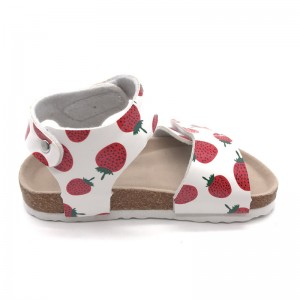 2021 Fashion Red Strawberry with Comfortable Micro Fibre Insole and Cork Sole Foot-bed Kids Girls Sandals