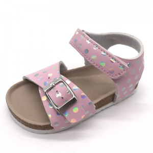 Factory New Style Toddler Girl Foot Bed Sole Comfort Sandal with silver dots on Upper