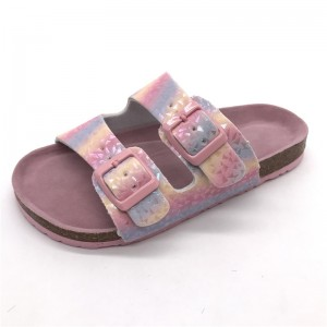 Factory Direct Sale High Quality Flat Beautiful Slippers for Girls with Adjustable Buckle Bio Cork Foot-bed sandals