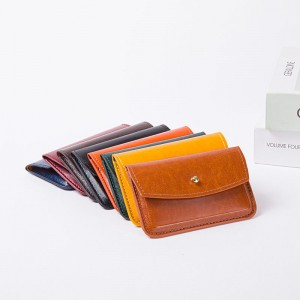 Vintage slim minimalist soft PU leather card bag mini case holder organizer wallet with button closure 5 colors available for credit card tickets business cards for men women for business office da...