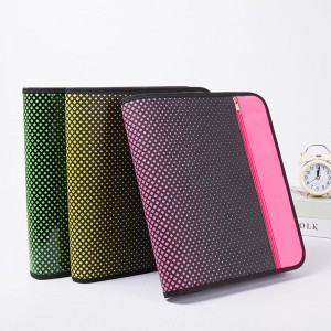 Zipper Binder, 2 Inch 3 Ring Binder, 6-Pocket Expanding File, Durable, Gree/Rose red