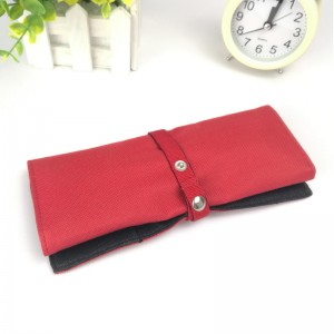 Red roll up large capacity pencil pouch Cosmetic case