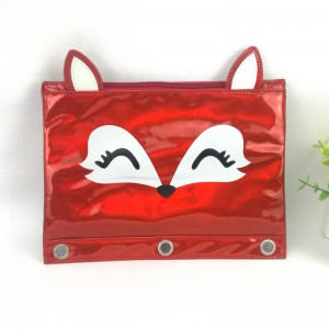 lovely fox deer hamster animal face 3D ears PU leather binder pouch pencil bag 3 colors available with zipper closure with 3-round rings great gift for kids teens adults for school office daily use